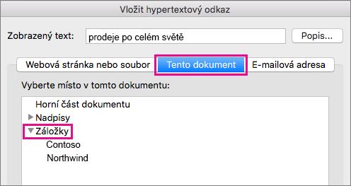 Dialogové okno Vložit hypertextový odkaz s na tomto dokumentu kartu a záložky zvýrazněná.