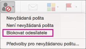 V seznamu Nevyžádaná pošta je zvýrazněná možnost blokovat odesílatele.