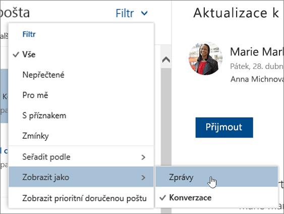 Snímek obrazovky s nabídkou filtru s zobrazit jako vybraný