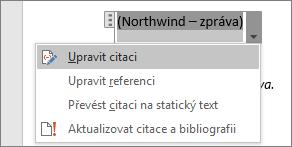 Zobrazené dostupné možnosti v části Citace