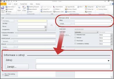Snímek obrazovky zobrazující oddílu informace o zdroji záznamu