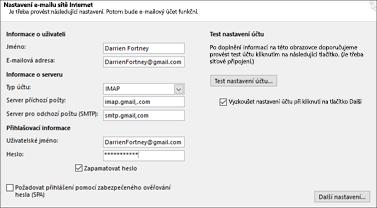 Zadání nastavení serveru Gmail