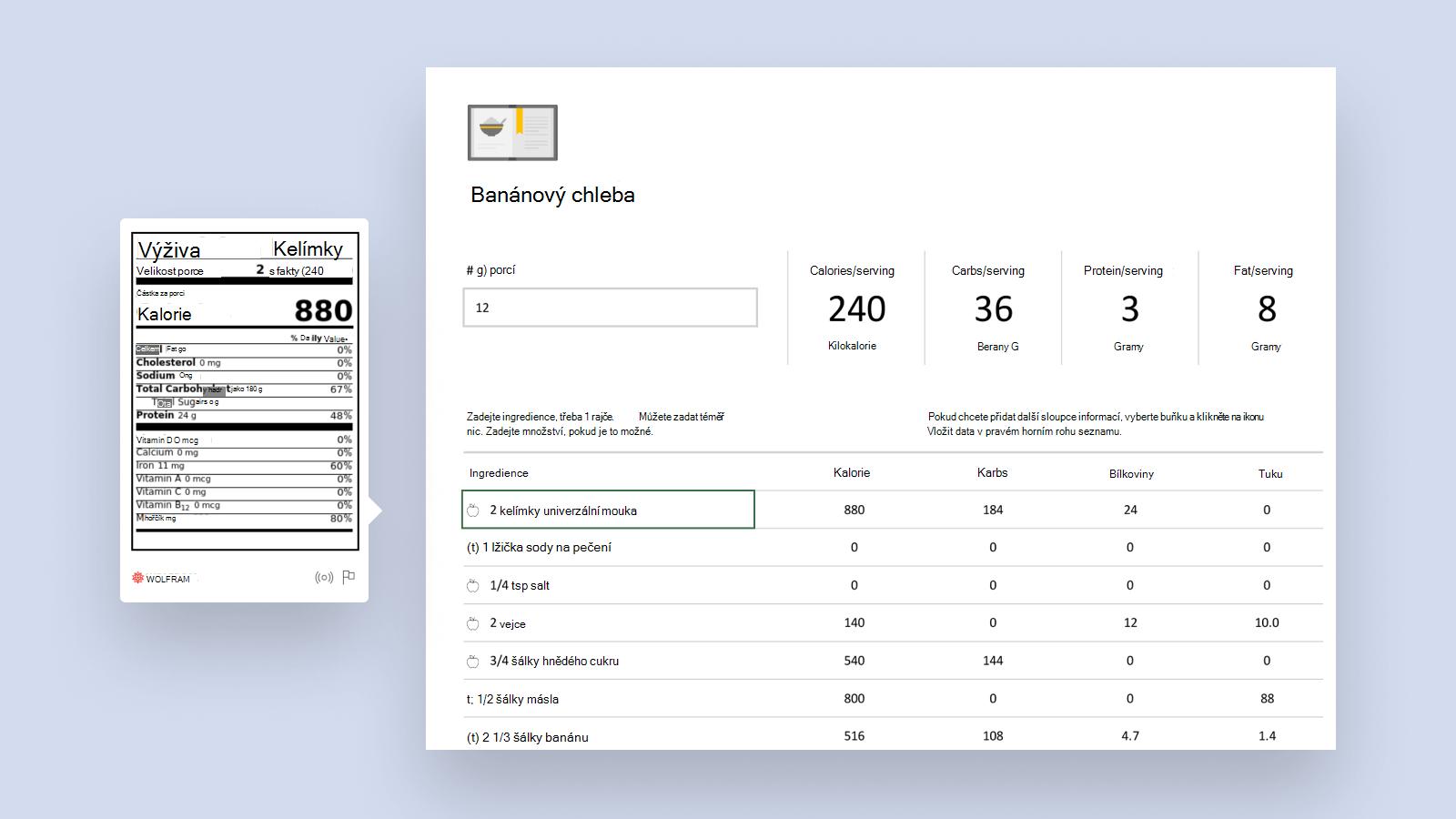 Snímek obrazovky s inteligentní šablonou Analyzátoru receptů.