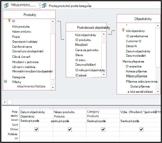 Vytvoření připojení k tabulce intermediate potřeby