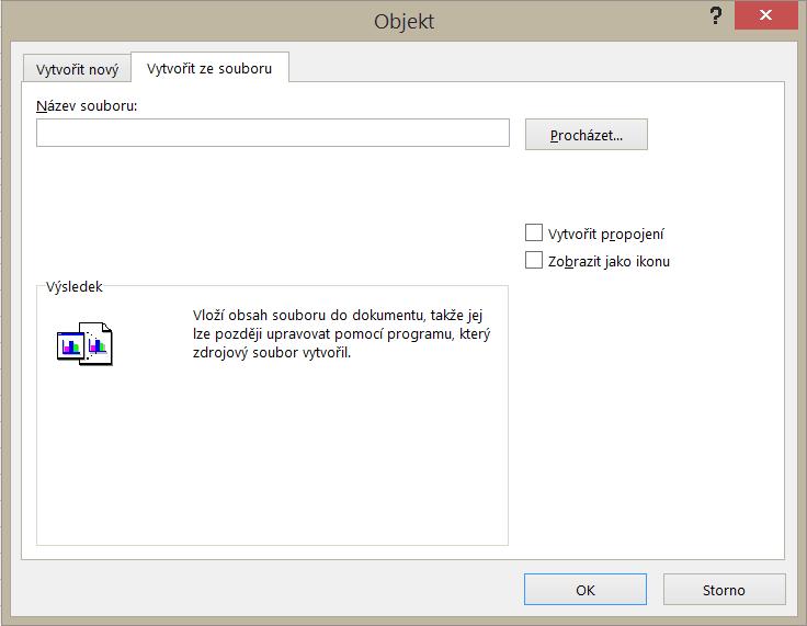 Karta Vytvořit ze souboru v dialogovém okně Objekt