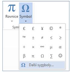 V nabídce Symbol klikněte na Další symboly.
