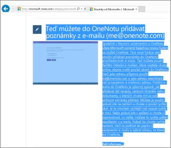 Snímek obrazovky zobrazující část webové stránky vybrané ke zkopírování.