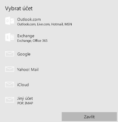 Volba univerzálního účtu v Outlooku