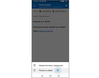 E-mailová zpráva se zvýrazněnou možností Převést na událost