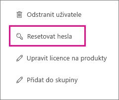 Resetování hesla pro víc uživatelů