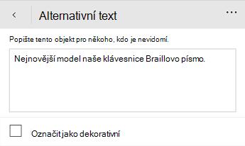 Dialogové okno alternativní text v aplikaci Word Mobile