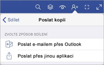 Nabídka Poslat kopii, která zobrazuje dvě možnosti sdílení souboru – e-mail odeslaný z Outlooku nebo odeslání z jiné aplikace.