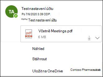 Rozevírací nabídka pro uložení přílohy do OneDrive.