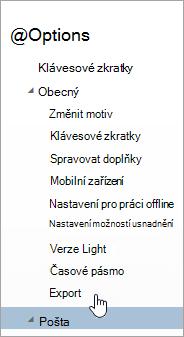 Snímek obrazovky s možností exportu v nabídce Možnosti