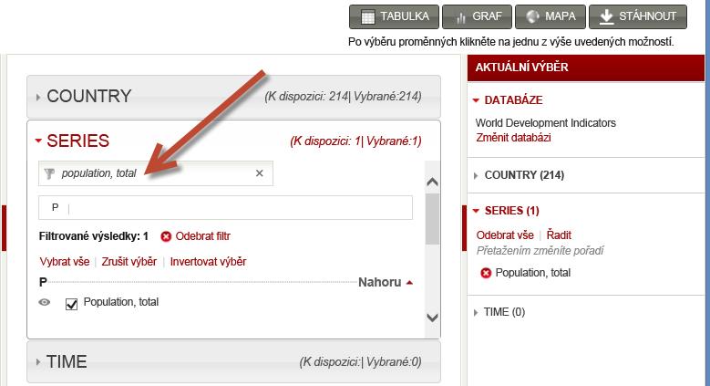 Vybírání datových sad z webu worldbank.org