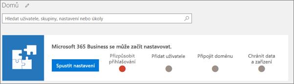 Snímek obrazovky sprůvodcem nastavením Business Cloud Suite