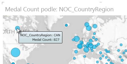 Najetí myší na data v mapách Power View – zobrazení dalších informací
