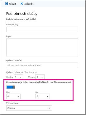 Možnost časové rezervy na stránce Podrobnosti o službě