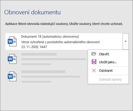 Automaticky obnovený soubor uvedený v podokně Obnovení dokumentu