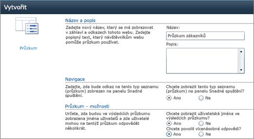 Stránka Možnosti průzkumu SharePoint 2010