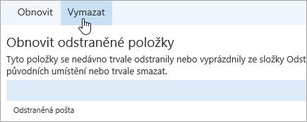Snímek obrazovky s tlačítkem Vymazat