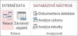 Příkaz Relace na kartě Databázové nástroje