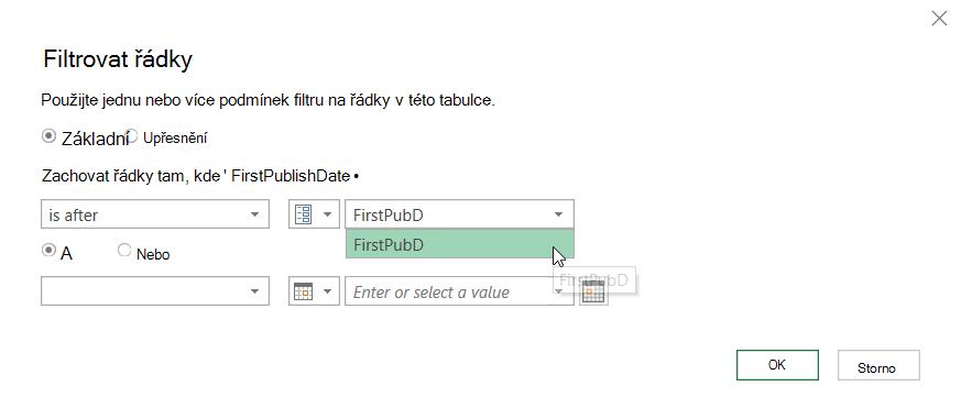 Dialogové okno Filtrovat řádky se zobrazením vybraného parametru