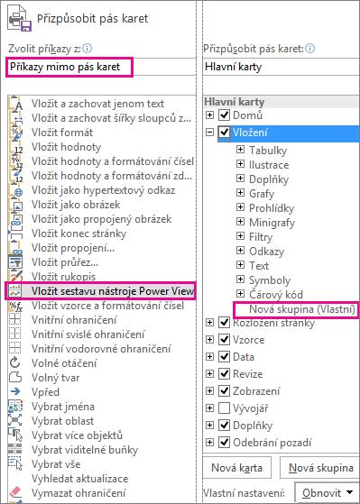 Přizpůsobení pole pásů karet v Excelu