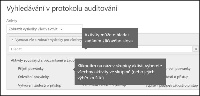 Vyberte všechny aktivity kliknutím na název skupiny aktivit.