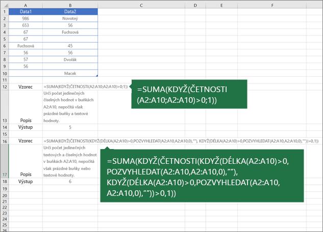 Příklady vnořených funkcí pro počítání počtu jedinečných hodnot mezi duplicitními položkami