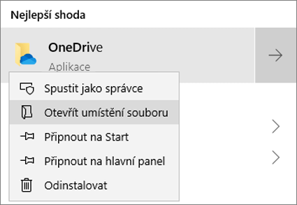 Snímek obrazovky znázorňující nabídku, která se zobrazí v nabídce Start po kliknutí pravým tlačítkem, s vybraným příkazem Otevřít umístění souboru