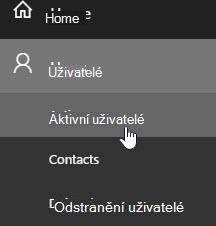 Snímek obrazovky zobrazující správce domovskou stránku Upravit uživatele