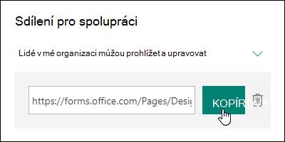 Odkaz URL pro spolupráci na formuláři vedle tlačítek Kopírovat a Odstranit