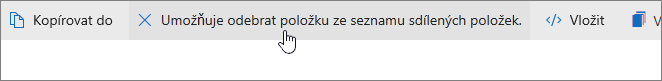 Snímek obrazovky znázorňující tlačítko pro odstranění ze seznamu sdílených položek na OneDrive.com.