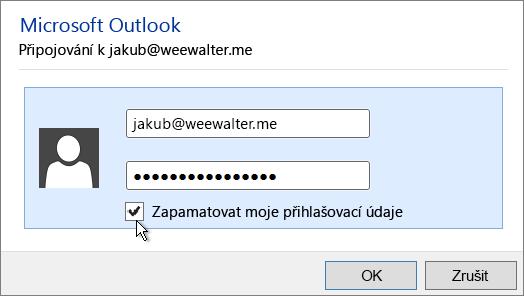 Vložte heslo aplikace ze schránky do pole Heslo.