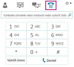 Snímek obrazovky s číselníkem pro volání kontaktu
