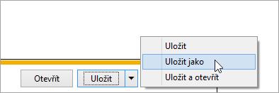 Snímek obrazovky seznamu Uložit jako tlačítko