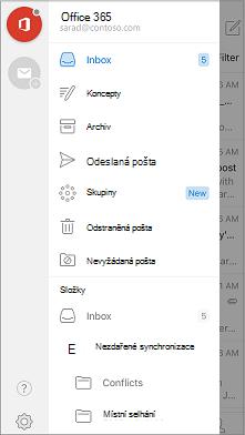 Navigační panel v aplikaci Outlook Mobile