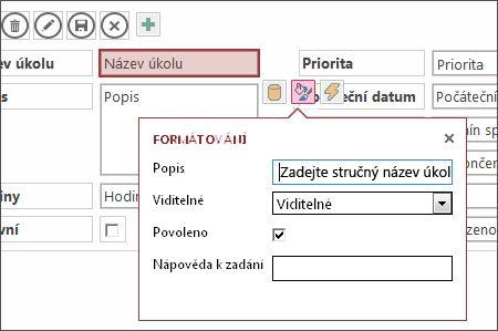 Zobrazení v režimu úprav s nastavením formátování textového pole.