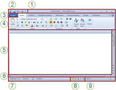 Prvky okna aplikace Word
