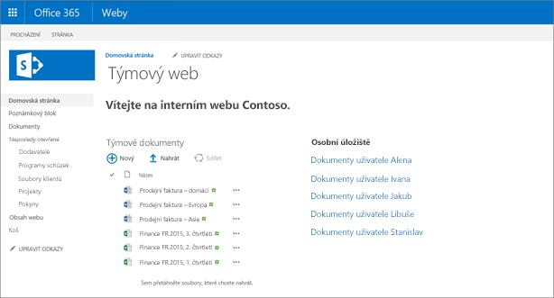 Týmový web s odkazy na osobní úložiště OneDrive