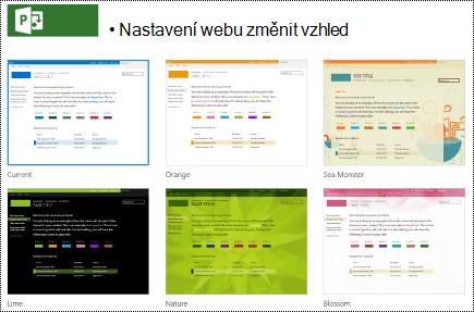 Změna vzhledu nabídky s návrhy webu v Projectu Online.