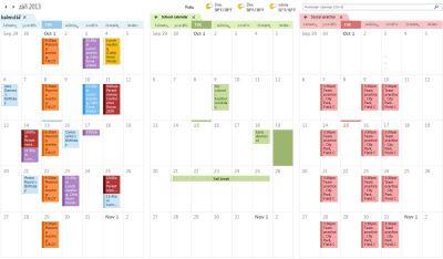 Příklad tří kalendářů vedle sebe