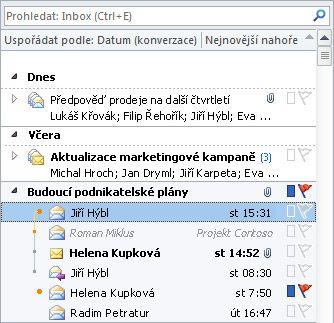 Konverzace seznamu zpráv ve složce Doručená pošta