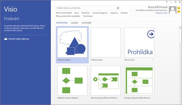 Použijte Visio k vytváření vývojových diagramů, plánů prostorového uspořádání, časových os a dalších typů výkresů