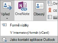 V Outlooku zvolte na kartě Kontakt ve skupině Akce možnost Foward a pak zvolte požadovanou možnost.