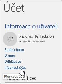 Snímek obrazovky znázorňující způsob přepnutí účtů v Informacích o účtu