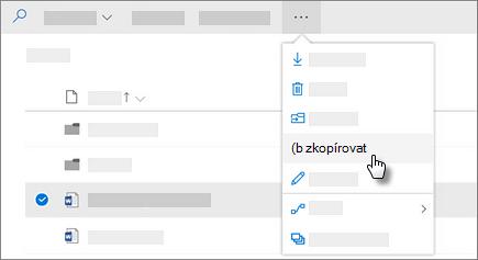 Snímek obrazovky příkazu Kopírovat v OneDrivu pro firmy