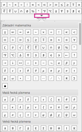 Na kartě rovnice je zobrazený seznam všech dostupných symbolů.
