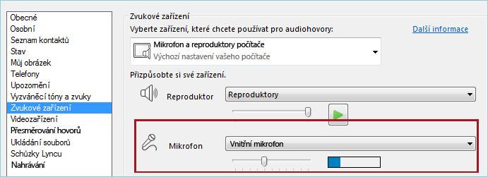 Snímek obrazovky s kontrolou mikrofonu ve zvukovém nastavení Lyncu